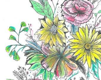 Floral Illustration Print, made to order!