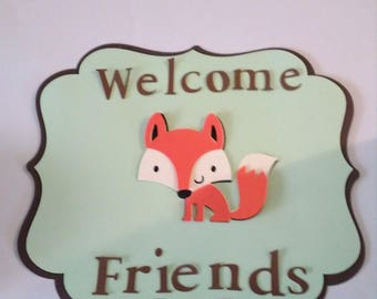 Woodland Fox Door Sign Baby Shower Birthday Party