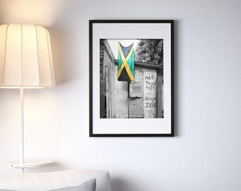 "Jamaican Flag Graffiti 16"" x 20"" Photography Framed - Black & White with Selective Color"