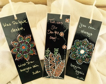 Bookmark, set of 3, Buddha set, black, dot painting, motto, bookmark, gift for him and her, including paper sleeve