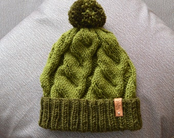 Hand Knit Beanie in green, Womens Winter Hat with Pom Pom, Mens Hat, Khaki knit hat, Slouchy Beanie, Rolled up Beanie, Knitted hat