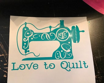 Quilters Vinyl Decal - Customized with Initials