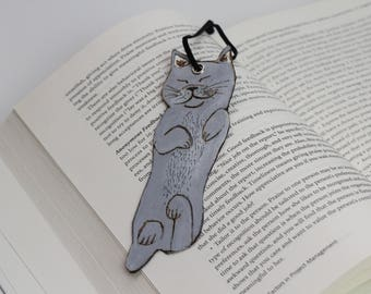 Grey Cat Wood Bookmark