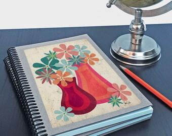 Journal. Botanical floral writing sketchbook. Spiral notebook. Mid-century modern design.  flower art print. Cute gift for her. Customizable