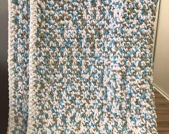Baby Blanket-White/Blue/Grey Multi colour