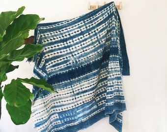 Luna | Vintage Indigo Tie dye | Handmade African mud cloth