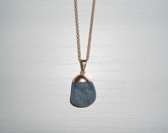 Short necklace, pendant necklace, women's necklaces, gold chain, necklaces, gemstone necklaces, pendant necklace, blue sodalite.