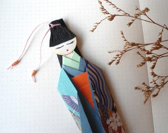 Bookmark Origami, Bookmark Kimono, Japanese Paper Doll, Origami Doll, Personalized Gift, Book Signs.