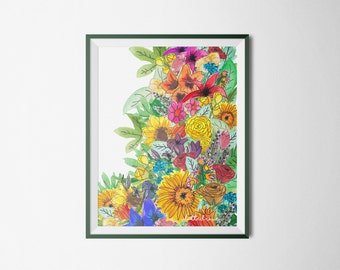 Colorful poster full of beautiful and cheerful flowers