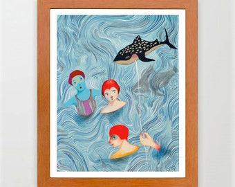 12-#Decor #Home, #Art#room, #Illustration, #Girl, #Blue, #Colorfu Girls#Fish#Red#Europeanstreetteam