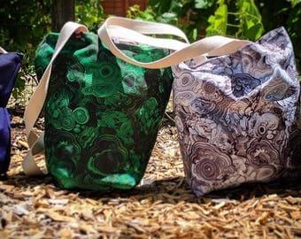 Malachite Print Tote Bag - canvas satchel