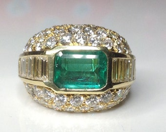 Estate 7.25 CTW Columbian Emerald Diamond Cocktail Ring 18K F-G VVS /VS-1!!!
