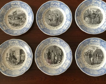 SPECIAL PRICE Creil et Montereau, Medaille d'Or,  6 antique french plates, first half 1800s, DISCOUNTED 15% off the original euro 195,00