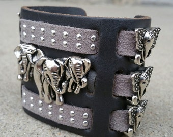 African Elephant Leather Cuff Bracelet.  FREE SHIPPING