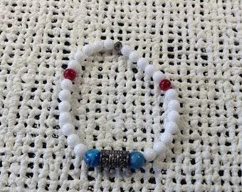 Red, white, blue accent bracelet