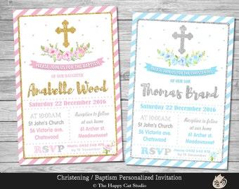 Baptism / Christening Invitation, Personalized, Printable, Digital Print Download File, Boy, Girl, Pink Blue, Gold, Silver, Floral, Cross
