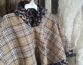 "Poncho Cloak - ""Cloey""  Girls Fleece Hooded Plaid and Leopard Print"