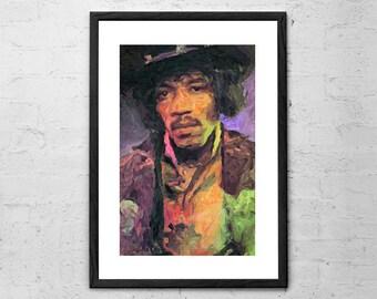 Jimi Hendrix Portrait Print - Jimi Hendrix Poster - Jimi Hendrix Inspired Print - Rock Poster - Jimi Hendrix Painting - Jimi Hendrix Art