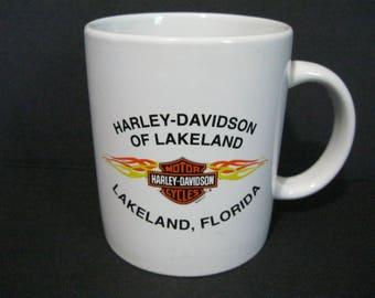 Harley-Davidson Coffee Mug, Lakeland, Fl. Harley Mug, Vintage Motorcycle Mug