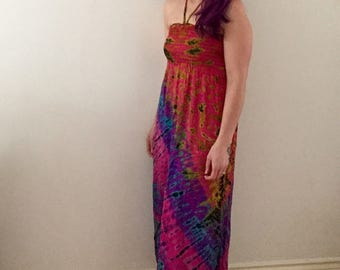 Tie Dye Summer Halter Dress in One Size