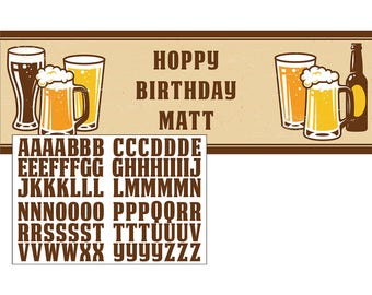 Cheers and Beers Party Birthday Banner/ Beer Birthday Party Banner/ Beer Theme Banner/ Beer Birthday Party Supplies