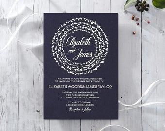 Exquisite & Elegant Dotted Wedding Invitation, Navy 16060