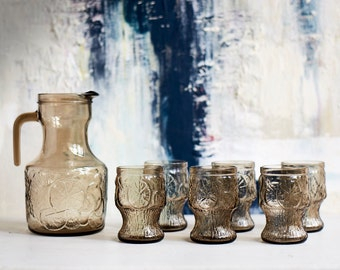 Vintage Fidenza Pitcher and Glasses set- Perfect for Summer
