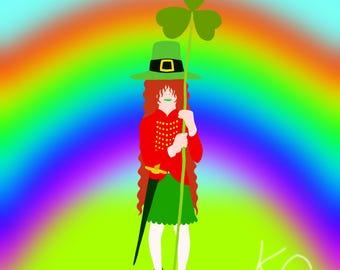 Little Leprechaun Lass - Digital Art Download - On Sale