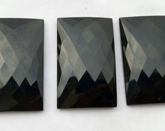 Black Spinel Faceted Rectangle  Shape Cabochon Flat Back , 24 mm to 39 mm   , 3 pcs