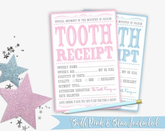 Tooth Fairy Letter | Tooth Fairy Tooth Receipt | Tooth Fairy Certificate | Tooth Fairy Note | Tooth Fairy Gift | Printable Instant Download