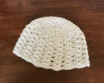 Women's Crocheted Summer Beanie, Cotton Beanie, Summer hat, hand crocheted