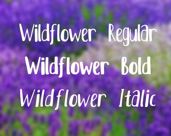 Wildflower Font - Handwritten Font - Handlettering - Modern Font - Perfect for Invitations, Cards, DIY Projects, Weddings, Birthdays