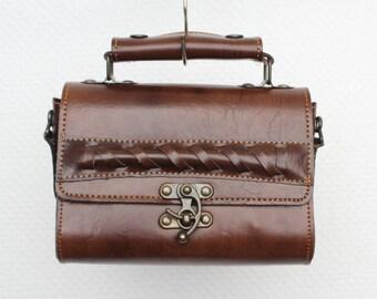 Vintage Brown Leather Bag Handbag