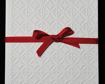 Circles & Diamonds Blank Embossed Note Cards - Set of 5, Embossed Stationery, Embossed Card Set, Embossed Notecards, Handmade Cards