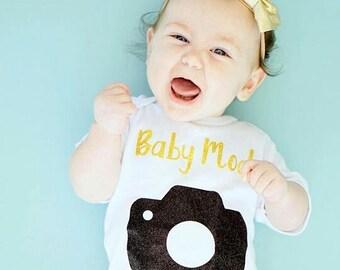Baby Model bodysuit, Baby Model, Model Baby, Baby Models,  Black Glitter camera, comes in sizes newborn to 4T.