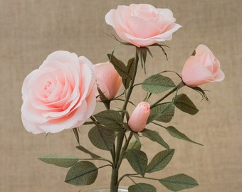 Rose Spray Pale Pink Single Stem / Paper Flowers- 1st Anniversary- Paper Flower- Paper Decor- Crepe Paper Flowers- Wedding- Home Decor