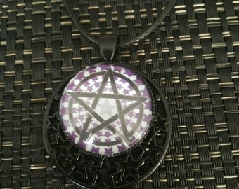 Purple star & pentagram pendant beautiful pentacle necklace