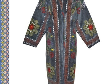 gorgeous uzbek silk embroidered caftan jacket robe chapan coat comfortable B74