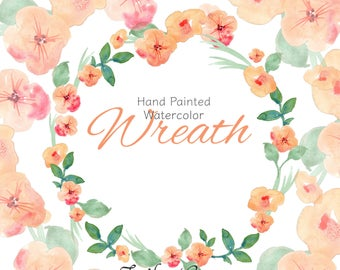 Watercolor Wreath Clipart  | Watercolor Leaves | Peach Flowers | DIY Wedding | Wedding Clipart Set | Bouquet | Wedding | Bridal | Card