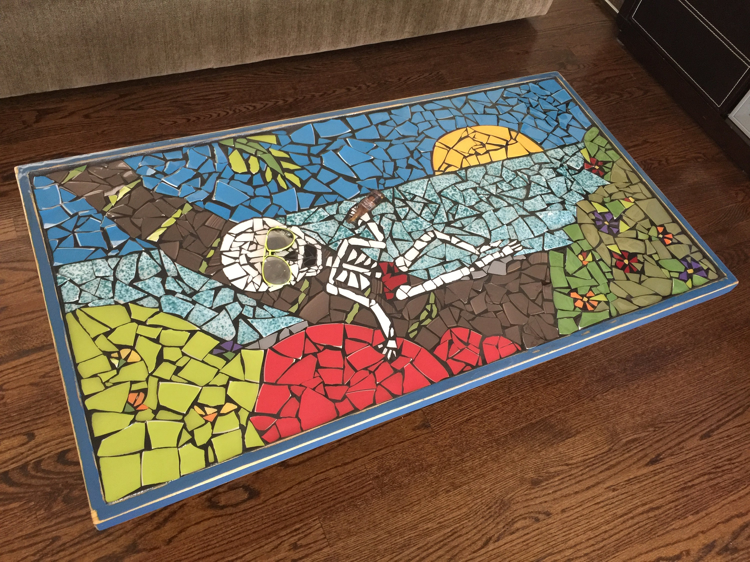 Skull Art Unique Mosaic Coffee Table Colorful Table Urban table
