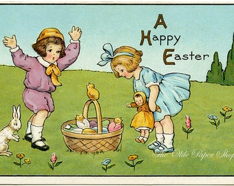 Vintage Happy Easter Embossed Postcard Boy Girl on Grassy Hill with Basket Eggs Bunny Doll