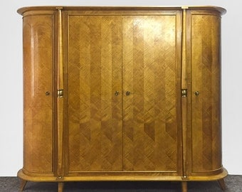 Mid Century Oval Sycamore Armoire