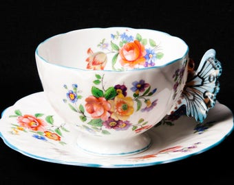 Very Rare Aynsley Butterfly Handle Teacup and Saucer - Bone China