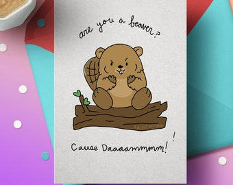 Perverted Cute Animal Valentines Greeting Cards Are You A Beaver Hip Hop  Animal Greeting Card Curves