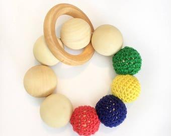Wooden teething ring teething toy teether, teether ring, baby toy, wooden teether, baby gift, baby teether baby toy chew toy baby gift