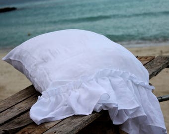 Set of 2 linen ruffled shams-white linen pillowcases-14 colors available-linen pillow covers-Ruffled pillow covers #Summer Waves #1