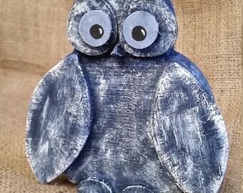Handmade painted dark blue owl made of wood
