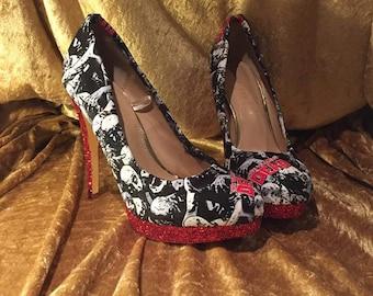 Custom shoes -  Custom Women's shoes -   Walking Dead Inspired Platform Heel shoes - Geek Chic shoes- Glitter Heel - Zombie shoes - Comicon