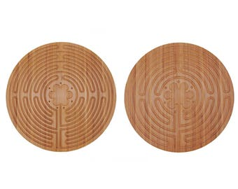 Double Sided  Finger Labyrinth Bamboo Wood for Prayer Meditation Maze