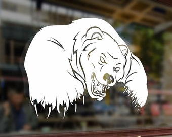 Big Angry Bad Polar Bear Art Vinyl Stickers Funny Decals Bumper Car Auto Computer Laptop Wall Window Glass Skateboard Snowboard Room